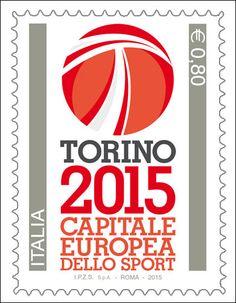 """Francobollo ordinario appartenente alla serie tematica """"lo Sport"""" dedicato a Torino capitale europea dello sport 2015"""