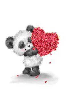 s Day, Cute Panda Holding Red Heart Shaped Roses card , Cute Animal Illustration, Animal Illustrations, Teddy Bear Pictures, Love Bears All Things, Tatty Teddy, Cute Cartoon Wallpapers, Bear Art, Cute Panda, Cute Bears