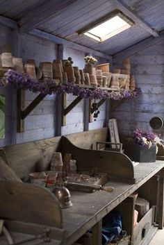 Potting Shed. garden shed Dream Garden, Home And Garden, Potting Tables, Modern Garden Design, Potting Sheds, Garden Pots, Garden Sheds, Garden Shed Interiors, Garden Benches