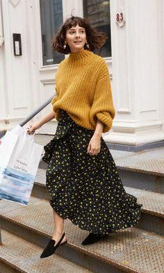 Look Saia Floral + Suéter