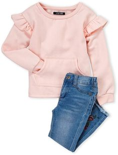Joe's Jeans Toddler Girls) Two-Piece Peach Flutter Pullover & & Jeans Set