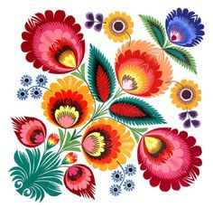 Polish Folk Art Tattoo Flowers Floral Embroidery Ideas For 2019 Decoupage Vintage, Folk Art Flowers, Flower Art, Motif Floral, Art Floral, Floral Prints, Cover Design, Polish Folk Art, Vinyl Tablecloth
