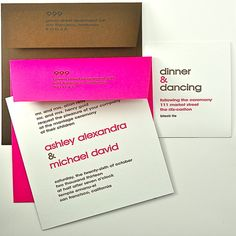 Invitation is white cotton laminated to brown  Hot pink or brown envelope-stock or custom  Reception is white cotton laminated to hot pink  Hot pink & brown ink