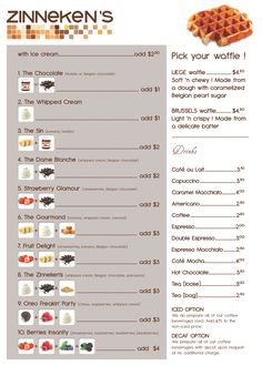 Zinneken's Belgian waffle menu, good idea for a brunch or waffle bar!