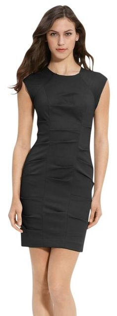 Nicole Miller Black Woven Pintuck Sheath Short Cocktail Dress Size 6 (S) off retail Sheath Dress, Peplum Dress, Chiffon Shoulder, Gowns Of Elegance, Short Cocktail Dress, Faux Wrap Dress, Sheer Chiffon, Dresses For Work, Formal Dresses