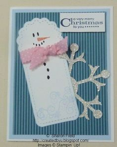 Two Tags and Snow Flurry Die Cuts Christmas Card - CAS
