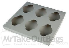"Regular Size Six-Cupcake Insert for 10 x 10"" Cupcake Boxes: White"