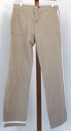 Tommy Hilfiger Women Pants Size 11 Casual Tan White Stripe Red Star #TommyHilfiger #CasualPants