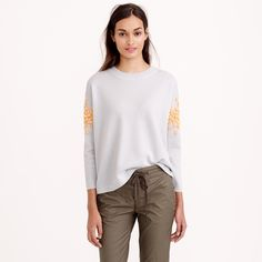 Sequin floral sweater : Pullovers | J.Crew