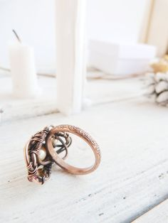 Wire wrapped ring Wire copper jewelry Boho by UrsulaJewelry