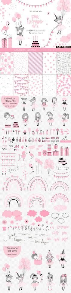 Birthday Girl clipart & pattern by olga.angelloz on Pink Birthday, Birthday Parties, Adobe Illustrator Software, Doll Drawing, Girl Clipart, Selling Design, Surface Design, Pink Girl, Ballerina