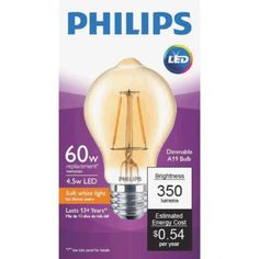 Philips LED Dimmable Vintage Light Bulb, A19, Warm White, 60 WE