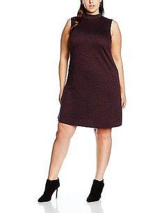 20, Red (Dark Burgundy), New Look Curves Women's Jacquard High Neck Dress NEW