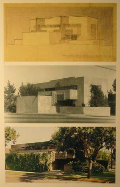 Frank Lloyd Wright's son, Lloyd Wright's Home and Studio :: West Hollywood, California :: 1927 Architecture Drawings, Architecture Details, Interior Architecture, Hollywood California, West Hollywood, Wayfarers Chapel, Frank Lloyd Wright Buildings, Moore House, Prairie School