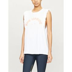The Upside Frill Logo-print Cotton-jersey Tank Top In White The Upside, World Of Fashion, No Frills, Printed Cotton, Fitness Models, Style Inspiration, Logo, Tank Tops, How To Wear
