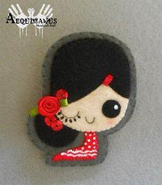 Prendedores - Broche Gitanilla Flamenca - hecho a mano por Aequimanus en DaWanda