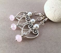 Silver heart Swarovski crystalpearl and pink quartz by LucKeyMe