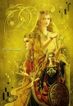 The three Guineveres - Women of Celtic Myth by ~mikioku on deviantART