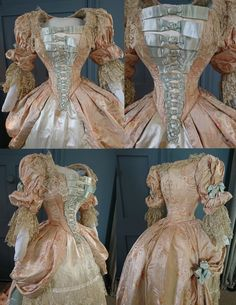 An elaborate bustle dress dating to the 1880s, designed in an 18th century style to be worn at a costume ball. Although technically a 'fancy dress' piece the garment has the luxurious fabrics and superb construction of a high end fashion piece, and i would imagine belonged to a high society belle. | eBay!