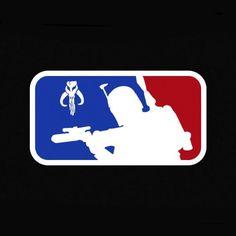 Fans of Major League Baseball will recognize this logo, but wait.That's Boba Fett. And he looks awesome on this Major League Boba Fett Star Wars Vinyl Decal Boba Fett Mandalorian, Star Wars Boba Fett, Star Wars Rebels, The Force Is Strong, Love Stars, Bounty Hunter, Star Wars Art, Star Trek, Geek Out