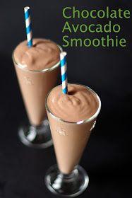 Chocolate Avocado Smoothie 1 avocado, 1 Tbsp cocoa, 1 cup strawberries, 1 1/2 cup milk, 1/2 tsp vanilla, 1 tbsp honey