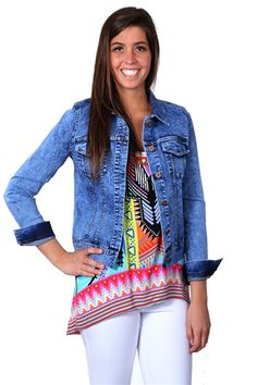 Denim Jacket - Medium Wash at Bluetique Cheap Chic