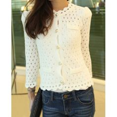 Wholesale Stylish Jewel Neck Long Sleeve Single-Breasted Hollow Out Knitted Cardigan For Women (WHITE,ONE SIZE), Sweater & Cardigan - Rosewholesale.com