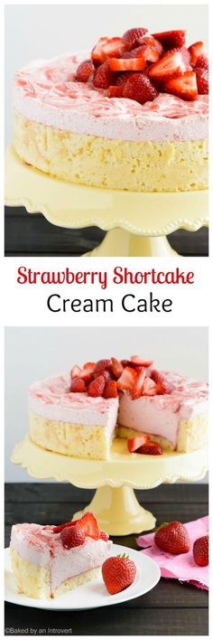 Soft and fluffy chiffon cake filled with homemade strawberry curd lightened up with whipped cream. This strawberry shortcake cream cake is grand dessert for all occasions!