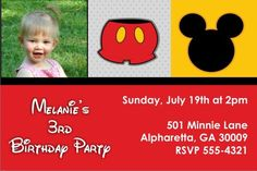 Mousy Fun Photo Invitation (Mickey Mouse) - Boys - Kids - Party Invites Personalized Party Invites