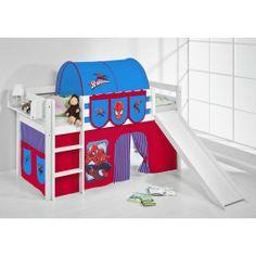 Hochbett mit Rutsche weiß SPIDER-MAN - JELLE | High bed with slide Spider-Man #lilokids #highbed #hochbett #kids #kinder #spiderman