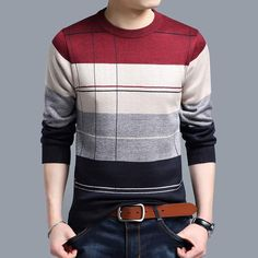 2017 brand social cotton thin men's pullover sweaters casual crocheted striped knitted sweater men masculino jersey clothes 5066