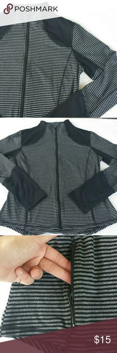 Warm up jacket Never worn. Grey and black striped jacket with black color-blocking. Mock neck, full zip front, zip pockets, slimming princess seams. Great condition! 90 Degree/Reflex Jackets & Coats