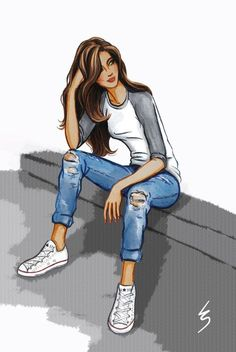 I've been on the hunt for some perfect boyfriend jeans ever since my last pair sadly passed away a few years ago. So far I've had no lu. Fashion Design Drawings, Fashion Sketches, Fashion Art, Girl Fashion, Mode Poster, Chica Cool, Girly M, Cute Girl Drawing, Girly Drawings