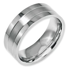 Stainless Steel Grooved 8mm Satin and Polished Band available at Jenkins Jewelers, Midland, MI