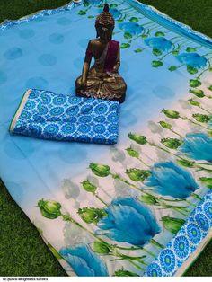 Multicolored Chiffon Printed Satin Border Sarees from Stf Store Chiffon Saree, Saree Dress, Silk Sarees, Lehenga Choli, Sharara, Saree Shopping, Lahenga, Indian Ethnic Wear, Saree Wedding