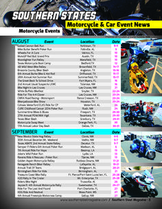 Motorcycle Events across NM, TX, LA, MS, AL & FL