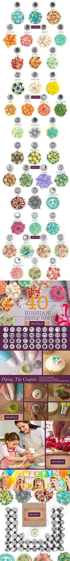 40 Russian icing tips Frosting Techniques, Frosting Tips, Frosting Recipes, Cake Decorating Techniques, Cake Decorating Tutorials, Cookie Decorating, Russian Icing Tips, Russian Cakes, Decoration Patisserie