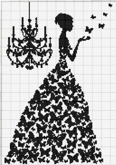 I would do it with different colour for each butterfly Wedding Cross Stitch Patterns, Funny Cross Stitch Patterns, Cross Stitch Designs, Cross Stitch Cards, Cross Stitching, Cross Stitch Embroidery, Hand Embroidery, Loom Beading, Beading Patterns