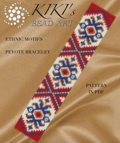 Pattern peyote bracelet Ethnic motifs peyote by KikisBeadArts Native Beading Patterns, Peyote Beading Patterns, Peyote Stitch Patterns, Native Beadwork, Loom Patterns, Loom Beading, Bracelet Patterns, Bracelets, Bead Weaving