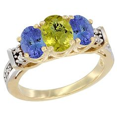 14K Yellow Gold Natural Lemon Quartz and Tanzanite Ring 3-Stone Oval Diamond Accent -- New and awesome product awaits you, Read it now  : Ring Bands