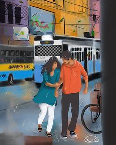 Couple Sketch, Cute Couple Drawings, Cute Couple Cartoon, Cute Couple Art, Cute Love Cartoons, Anime Love Couple, Anime Couples Drawings, Cute Couples, Indian Illustration