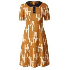 textured silk collar dress in toffee #orlakiely