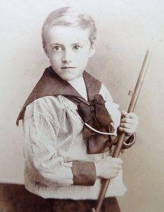 Carte-de-visite antique it features a boy in a sailor suit