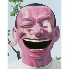 Yue Minjun (Chinese, b. Dragon, Oil on canvas, 100 x 80 cm. Chinese Contemporary Art, Contemporary Paintings, Modern Art, Chinese China, Chinese Art, Cynical Realism, Yue Minjun, Art Chinois, Pop Art Illustration
