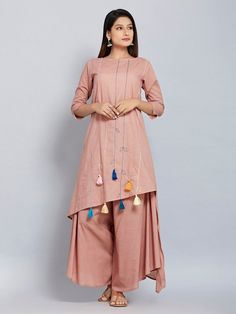 Pink Hand Embroidered Cotton Mulmul Asymmetric Kurta with Flared Palazzo - Set of 2 Shrug For Dresses, Indian Gowns Dresses, Casual Day Dresses, Stylish Dresses, Simple Dresses, Pakistani Dresses, Evening Dress Patterns, Kids Dress Patterns, Simple Kurta Designs
