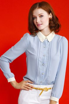 Slim Blue Chiffon Shirt. Description: Blue shirt, featuring lace embroidered design on collar, buttoned front and cuffs, long sleeves, contrasting collar and cuffs, soft touch fabric. Jump into this blue shirt great with white pants and high heels when going to work. Fabric: Polyester. Washing: Cool hand wash with similar colours, do not tumble dry. #Romwe