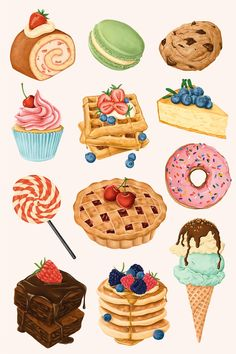 Delicious hand painted desserts vector set | free image by rawpixel.com / Noon Dessert Illustration, Art And Illustration, Food Illustrations, Cute Food Art, Cute Art, Et Wallpaper, Desserts Drawing, Bakery Menu, Bakery Cafe
