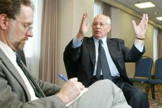 My 2002 interview with Mikhail Gorbachev, photo by Kent Sievers: http://stevebuttry.wordpress.com/2014/06/11/my-2002-interview-with-mikhail-gorbachev/