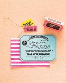 Download and create these ticket-themed wedding invitations.