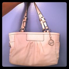 White leather Coach purse Authentic over the shoulder, leather bag with tan interior. No damages! Perfect to pair with a colored Coach sash (see my listings) Coach Bags